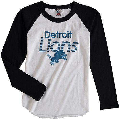 Youth Junk Food White/Black Detroit Lions All American Long Sleeve Raglan T-Shirt