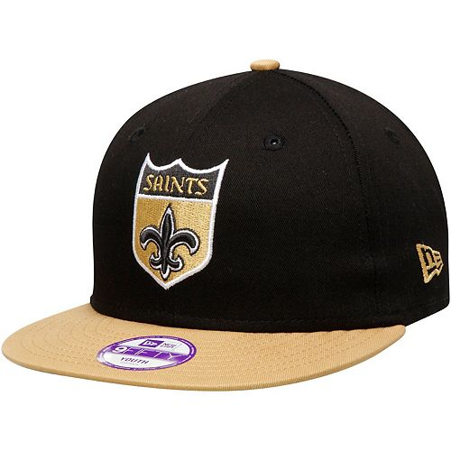 Youth New Era Black/Gold New Orleans Saints Historic Baycik 9FIFTY Snapback Adjustable Hat