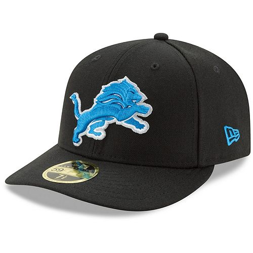 Men's New Era Black Detroit Lions Omaha Low Profile 59FIFTY Fitted Hat