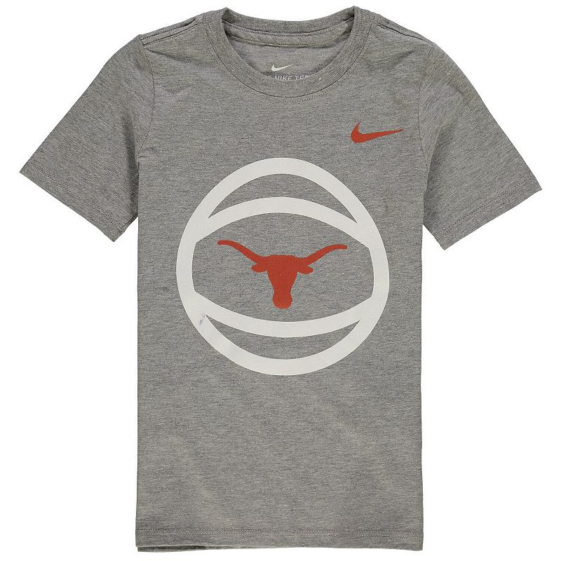 Preschool Nike Heathered Gray Texas Longhorns Basketball and Logo T-Shirt, Kids Unisex, Size: 4, Grey