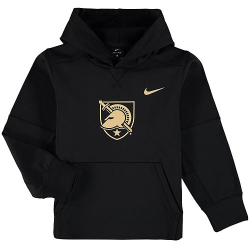 Youth Nike Black Army Black Knights Logo KO Pullover Performance Hoodie