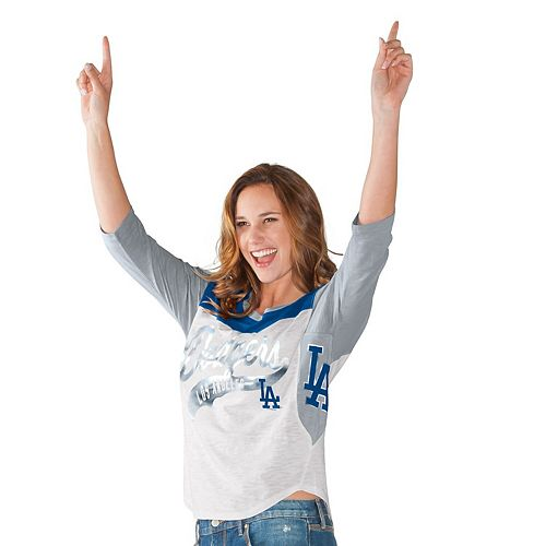 Women's Hands High White Los Angeles Dodgers Season's Pass 3/4 Sleeve T-Shirt