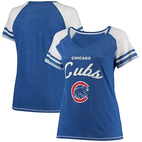 Women's Soft as a Grape Royal Chicago Cubs Plus Sizes Three Out Color Blocked Raglan Sleeve T-Shirt