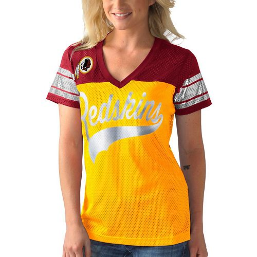 Women's G-III 4Her by Carl Banks Gold Washington Redskins Pass Rush T-Shirt