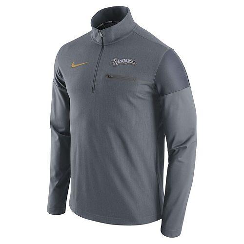 Men's Nike Gray Milwaukee Brewers Elite Half-Zip Pullover Jacket