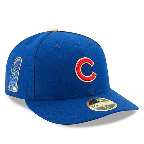 Men's New Era Royal Chicago Cubs 2017 Gold Program World Series Champions Commemorative Low Profile 59FIFTY Fitted Hat