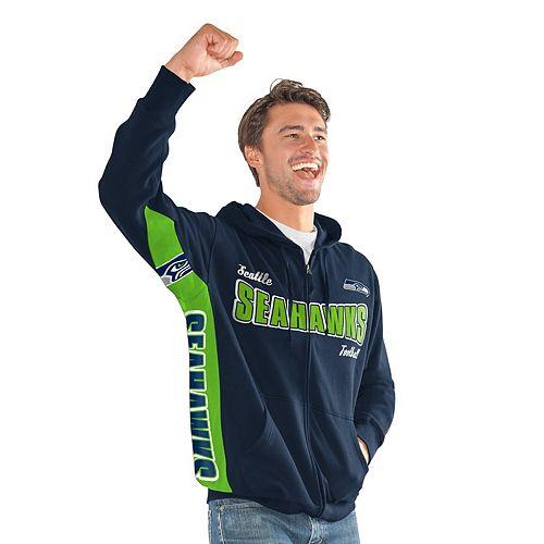 Men's Hands High College Navy/Neon Green Seattle Seahawks Player Full-Zip Hoodie