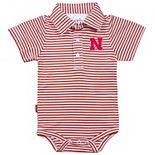 Infant Garb Red/White Nebraska Cornhuskers Carson Striped Short Sleeve Bodysuit