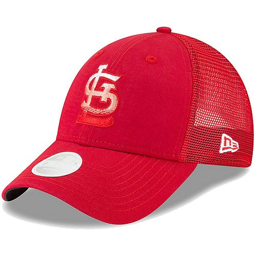 Women's New Era Red St. Louis Cardinals Faded Front Trucker 9FORTY Adjustable Snapback Hat