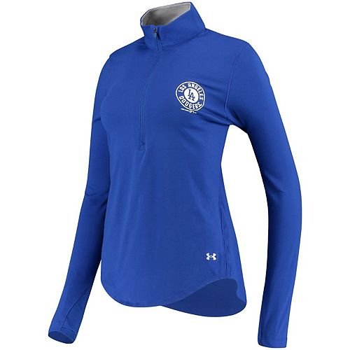 Women's Under Armour Royal Los Angeles Dodgers Charged Cotton Half-Zip Pullover Jacket