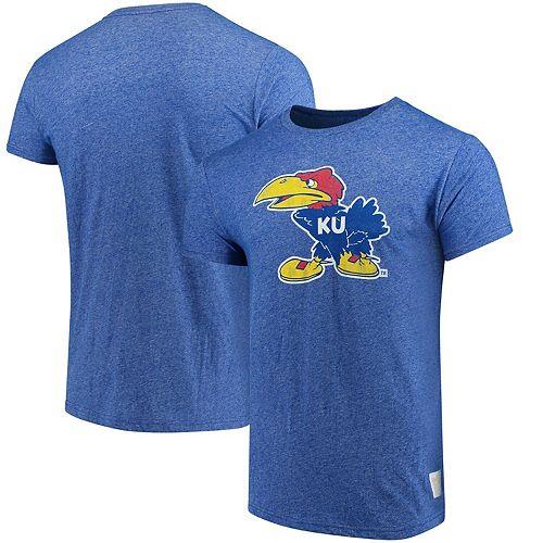 Men's Original Retro Brand Royal Kansas Jayhawks School Logo Mock Twist T-Shirt
