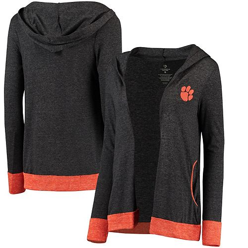 Women's Colosseum Charcoal Clemson Tigers Steeplechase Open Hooded Tri-Blend Cardigan