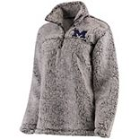 Women's Gray Michigan Wolverines Sherpa Super Soft Quarter-Zip Pullover Jacket