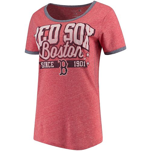 Women's 5th & Ocean by New Era Red/Navy Boston Red Sox Jersey Ringer Tri-Blend T-Shirt