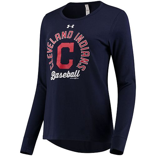 Women's Under Armour Navy Cleveland Indians Charged Long Sleeve T-Shirt