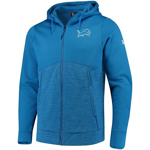 Men's Under Armour Blue Detroit Lions Combine Authentic Twist Colorblock Full-Zip Hoodie
