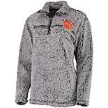 Women's Gray Clemson Tigers Sherpa Super Soft Quarter-Zip Pullover Jacket