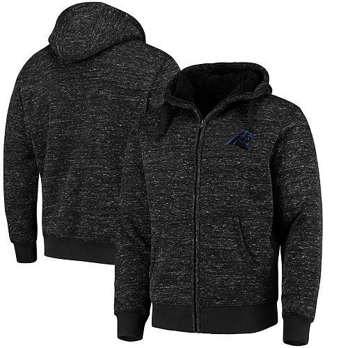 Men's G-III Sports by Carl Banks Heathered Black Carolina Panthers Discovery Sherpa Full-Zip Jacket