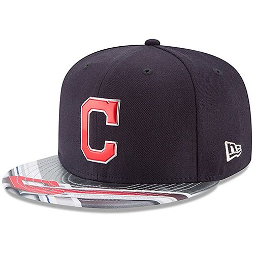 Men's New Era Navy/Gray Cleveland Indians 9FIFTY Topps Collaboration Snapback Adjustable Hat