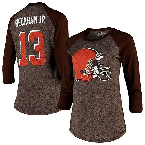 Women's Majestic Threads Odell Beckham Jr Brown Cleveland Browns Player Name & Number Tri-Blend Raglan 3/4-Sleeve T-Shirt
