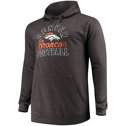 Men's Majestic Charcoal Denver Broncos Big & Tall Script Kick Return Pullover Hoodie