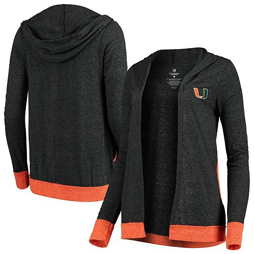 Women's Colosseum Charcoal Miami Hurricanes Steeplechase Open Hooded Tri-Blend Cardigan