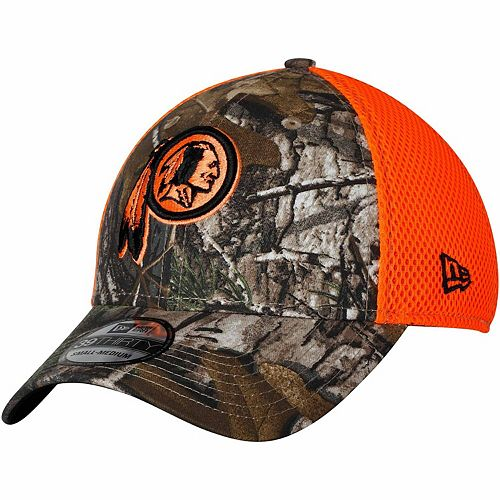 Men's New Era Realtree Camo/Orange Washington Redskins Blaze Neo 39THIRTY Flex Hat