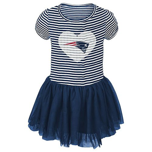 Girls Preschool Navy/White New England Patriots Celebration Tutu Sequins Dress