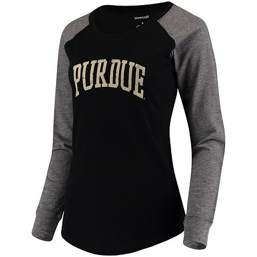 Women's Black/Gray Purdue Boilermakers Preppy Elbow Patch 2-Hit Arch and Logo Long Sleeve T-Shirt