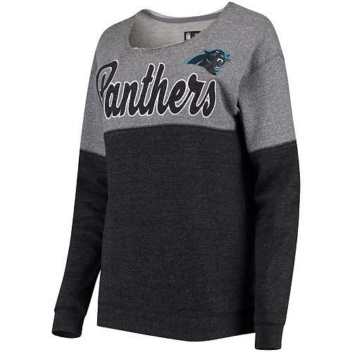 Women's 5th & Ocean by New Era Gray/Black Carolina Panthers Fleece Tri-Blend Sweatshirt