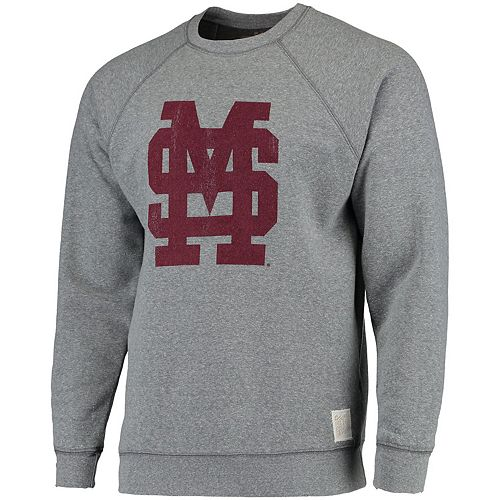 Men's Original Retro Brand Heathered Gray Mississippi State Bulldogs School Logo Tri-Blend Pullover Sweatshirt