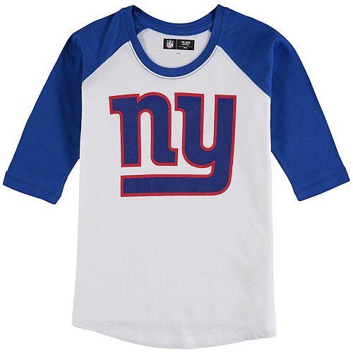 Girls Youth 5th & Ocean by New Era White/Royal New York Giants 3/4-Sleeve Raglan T-Shirt