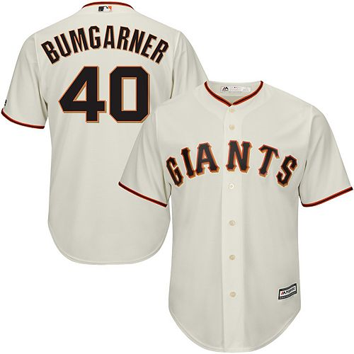 Youth Majestic Madison Bumgarner Cream San Francisco Giants Official Cool Base Player Jersey