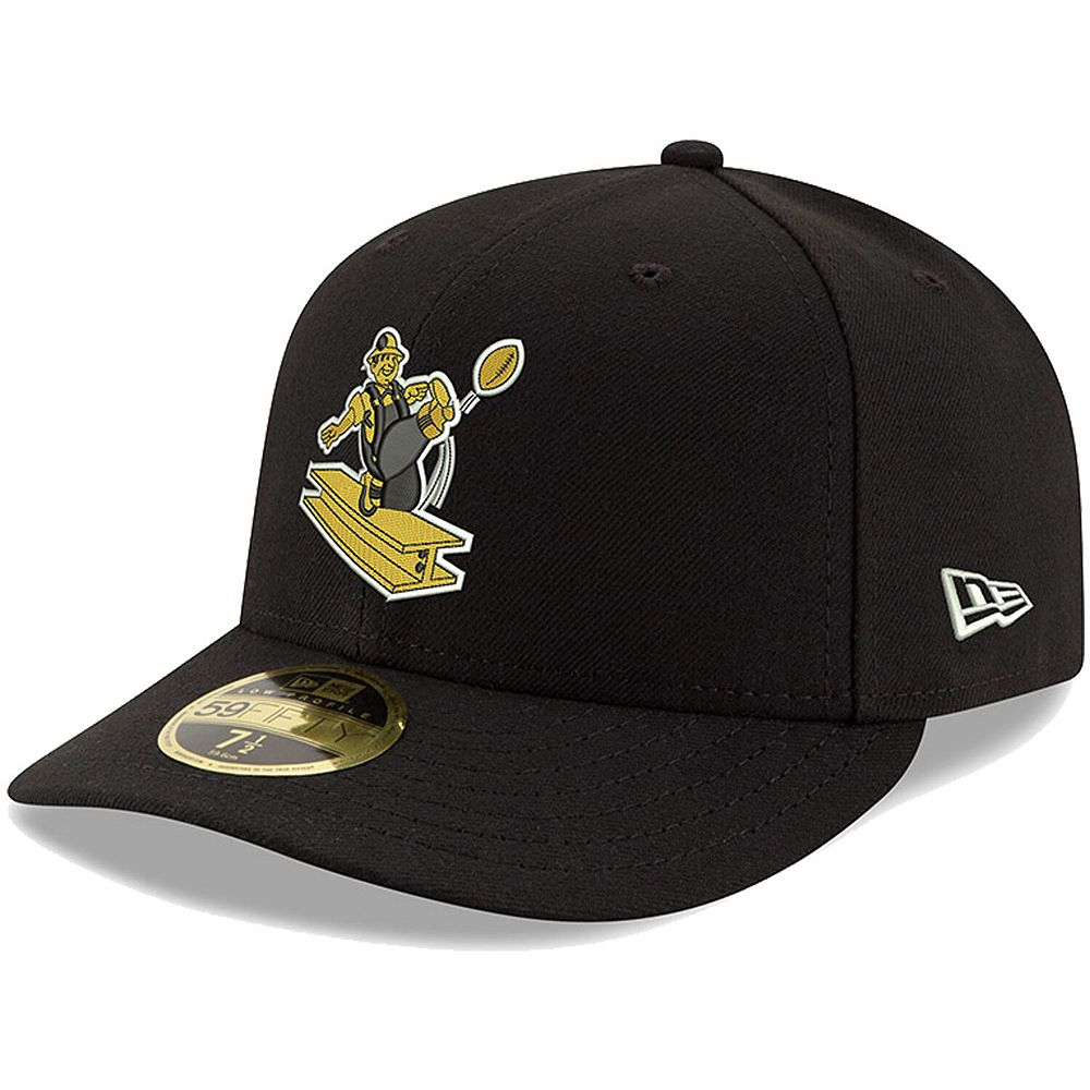 Men's New Era Black Pittsburgh Steelers Omaha Throwback Low Profile 59FIFTY Fitted Hat