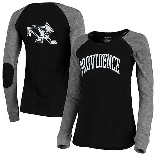 Women's Black/Gray Providence Friars Preppy Elbow Patch 2-Hit Arch and Logo Long Sleeve T-Shirt