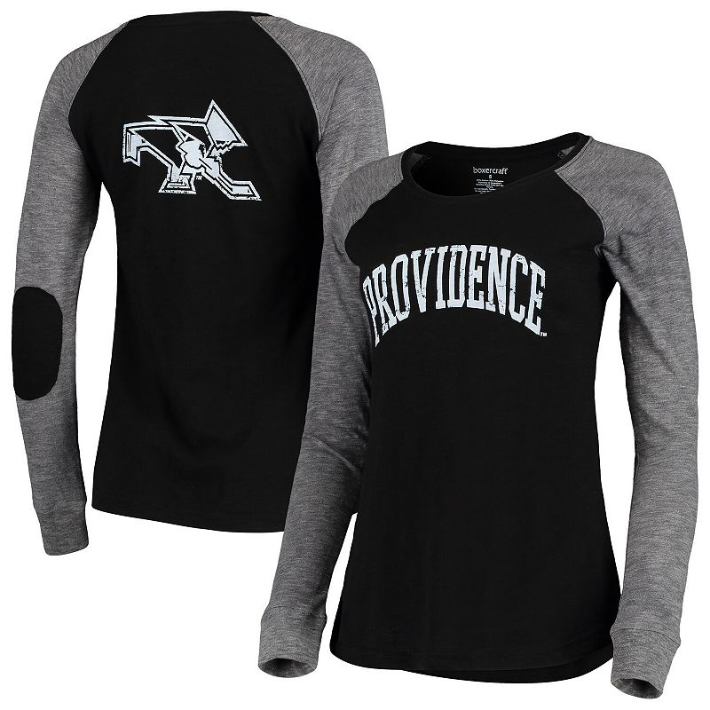 Women's Black/Gray Providence Friars Preppy Elbow Patch 2-Hit Arch and Logo Long Sleeve T-Shirt, Size: Large