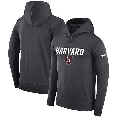 Men's Nike Anthracite Harvard Crimson Logo Therma Performance Hoodie