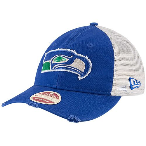 Men's New Era Royal/Natural Seattle Seahawks Frayed Twill 9TWENTY Adjustable Hat