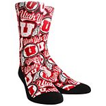 Youth Red Utah Utes Logo Sketch Crew Socks