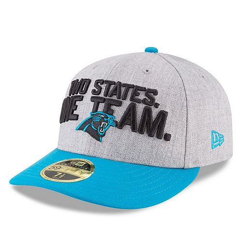 Men's New Era Heather Gray/Blue Carolina Panthers 2018 NFL Draft Official On-Stage Low Profile 59FIFTY Fitted Hat