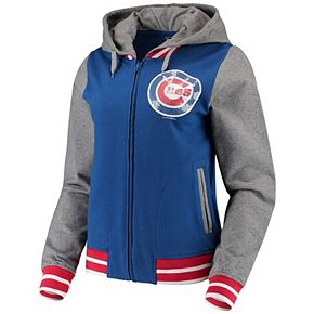 Women's 5th & Ocean by New Era Royal/Heathered Gray Chicago Cubs French Terry Full-Zip Hoodie