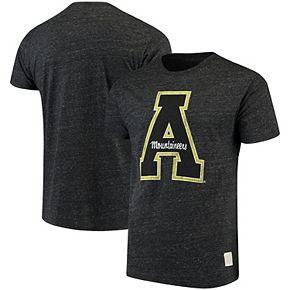Men's Original Retro Brand Heathered Black Appalachian State Mountaineers Tri-Blend T-Shirt
