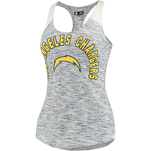 Women's 5th & Ocean by New Era Heathered Navy/White Los Angeles Chargers Space Dye Racerback Tank Top