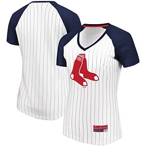 Women's Majestic White/Navy Boston Red Sox Plus Size Raglan V-Neck T-Shirt