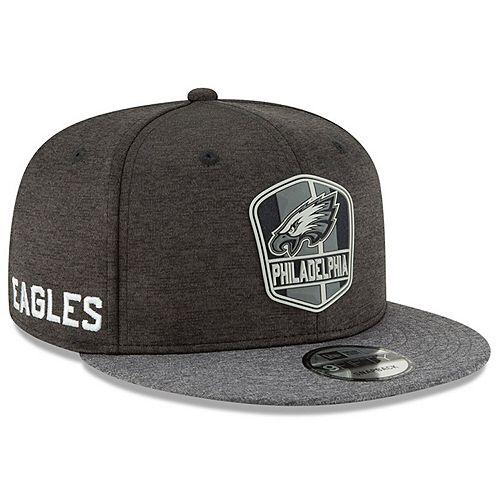 Men's New Era Heather Black/Heather Charcoal Philadelphia Eagles 2018 NFL Sideline Road Black 9FIFTY Snapback Adjustable Hat