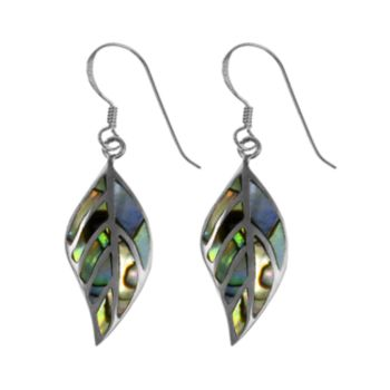 Sterling Silver Abalone Leaf Earrings