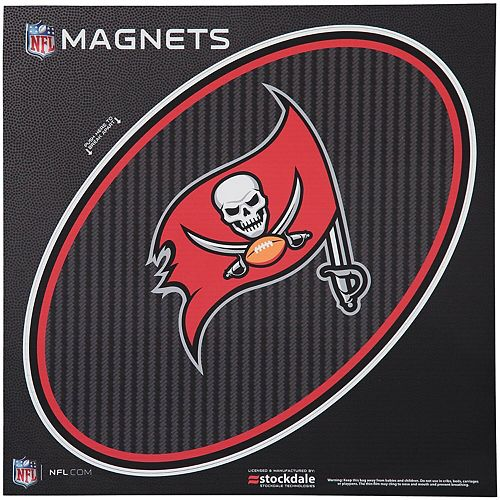 """Tampa Bay Buccaneers Carbon 12"""" x 12"""" Oval Full Color Magnet"""