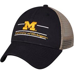Men's The Game Navy Michigan Wolverines Logo Bar Trucker Adjustable Hat