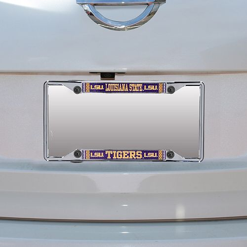 LSU Tigers Jersey Small Over Small Metal Acrylic Cut License Plate Frame
