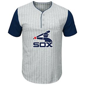 Men's Majestic Gray/Navy Chicago White Sox Big & Tall Cooperstown Collection Pinstripe Henley Raglan T-Shirt